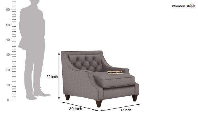 Daisy 1 Seater Sofa ( Fabric, Warm Grey)-3