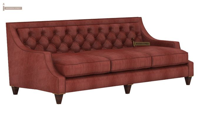 Daisy 3 Seater Sofa (Leatherette, Burnt Umber)-3