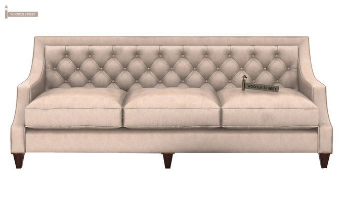 Daisy 3 Seater Sofa (Leatherette, Rose White)-2