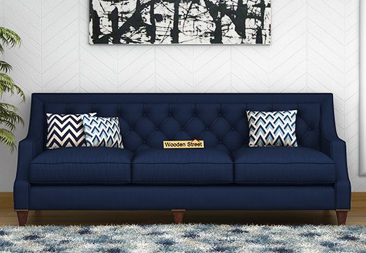 Daisy 3 Seater Fabric Sofa (Indigo Ink)