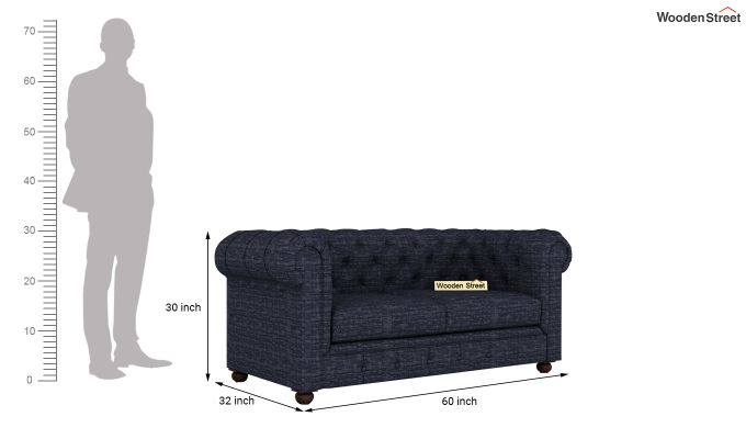 Henry 2 Seater Sofa (Fabric, Blue Siberia)-11