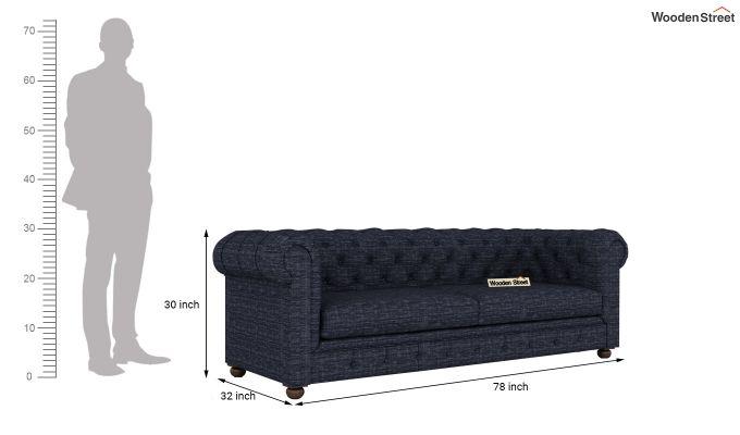 Henry 2 Seater Sofa (Fabric, Blue Siberia)-12