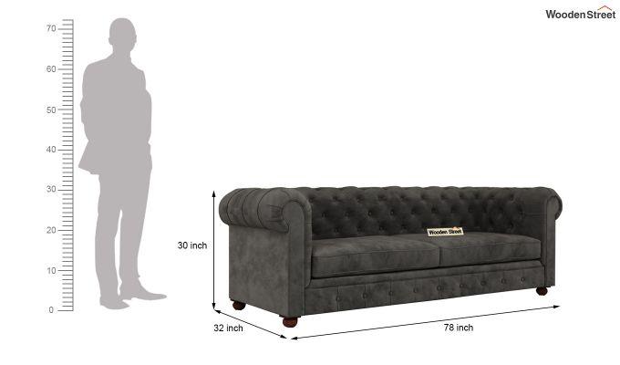 Henry 2 Seater Sofa (Velvet, Graphite Grey)-11