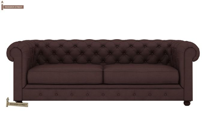 Henry 3 Seater Sofa (Fabric, Classic Brown)-2