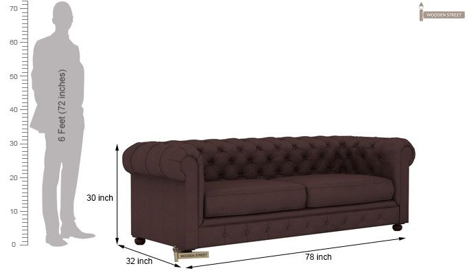 Henry 3 Seater Sofa (Fabric, Classic Brown)-5