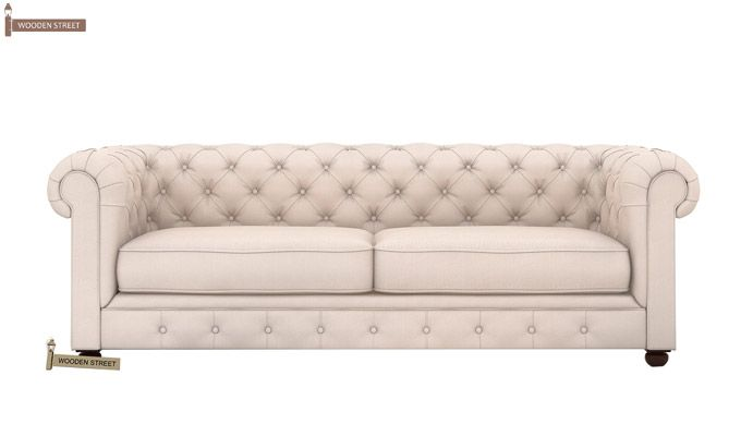 Henry 3 Seater Sofa (Fabric, Ivory Nude)-2