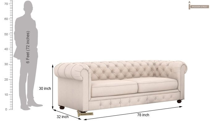 Henry 3 Seater Sofa (Fabric, Ivory Nude)-4