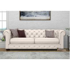 Henry 3 Seater Sofa (Fabric, Ivory Nude)