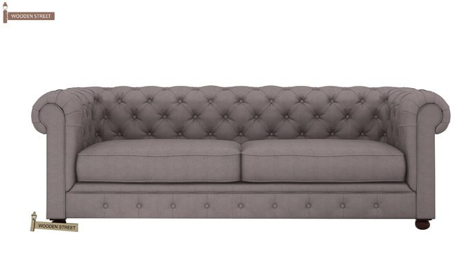 Henry 3 Seater Sofa (Fabric, Warm Grey)-2