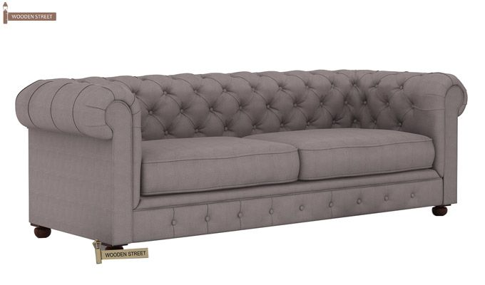 Henry 3 Seater Sofa (Fabric, Warm Grey)-3