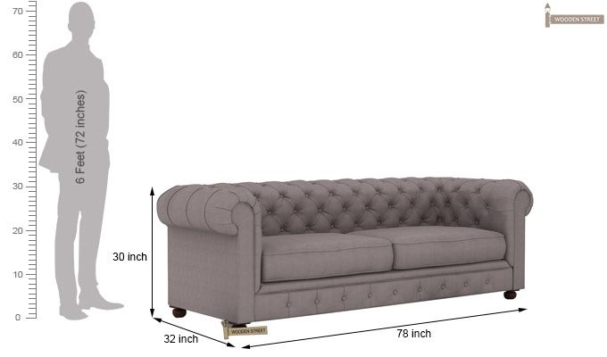 Henry 3 Seater Sofa (Fabric, Warm Grey)-5