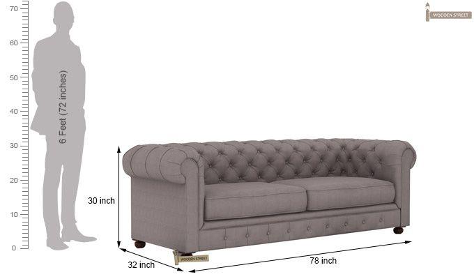 Henry 3 Seater Sofa (Fabric, Warm Grey)-5