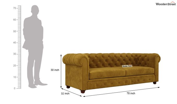 Henry 2 Seater Sofa (Velvet, Chestnut Brown)-11