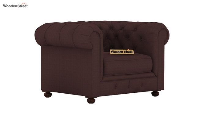 Henry 1 Seater Sofa (Fabric, Classic Brown)-2