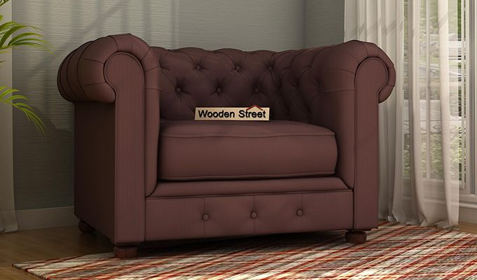 Henry 1 Seater Sofa (Fabric, Classic Brown)-1