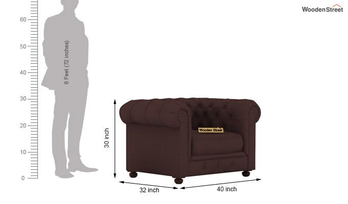 Henry 1 Seater Sofa (Fabric, Classic Brown)-4