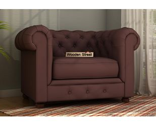Henry 1 Seater Sofa (Fabric, Classic Brown)