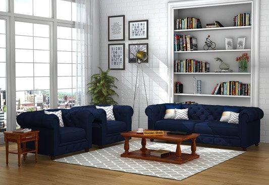 Henry Fabric Sofa Set 3+1+1 (Indigo Ink)