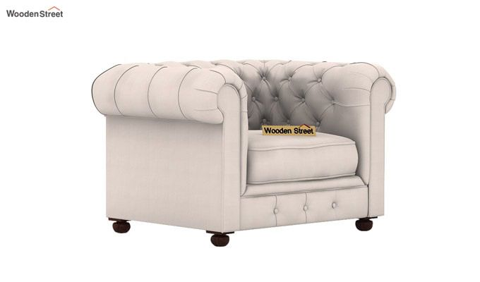 Henry 1 Seater Sofa (Fabric, Ivory Nude)-1
