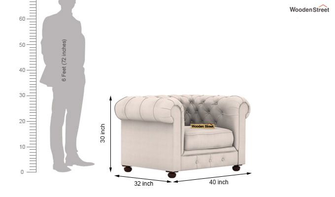 Henry 1 Seater Sofa (Fabric, Ivory Nude)-3