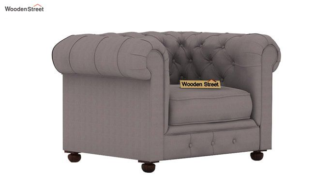 Henry 1 Seater Sofa (Fabric, Warm Grey)-1