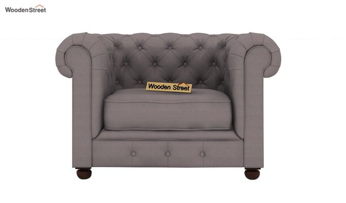 Henry 1 Seater Sofa (Fabric, Warm Grey)-2