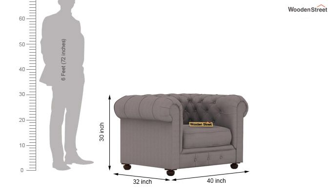 Henry 1 Seater Sofa (Fabric, Warm Grey)-3