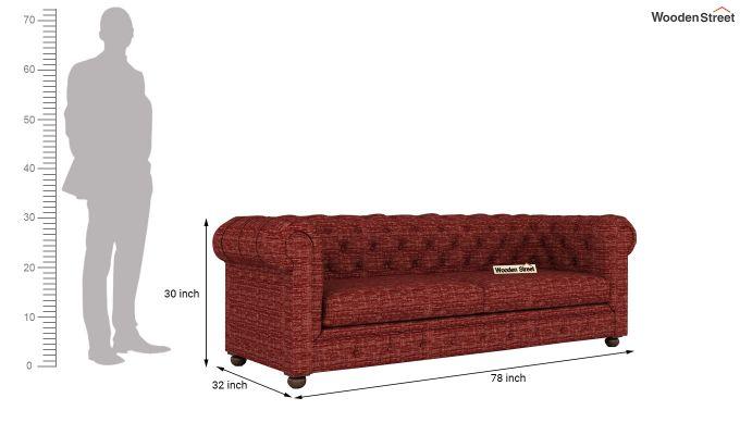 Henry 2 Seater Sofa (Fabric, Red Siberia)-12