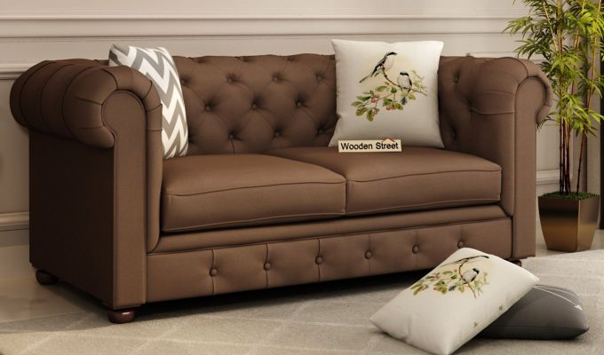 Henry 2 Seater Sofa (Fabric, Classic Brown)-1