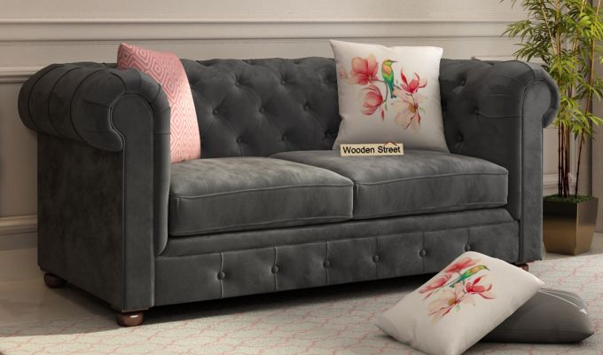 Henry 2 Seater Sofa (Velvet, Graphite Grey)-1