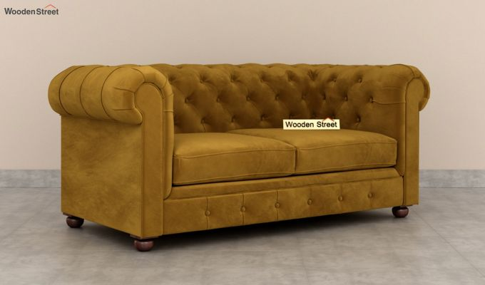 Henry 2 Seater Sofa (Velvet, Chestnut Brown)-2