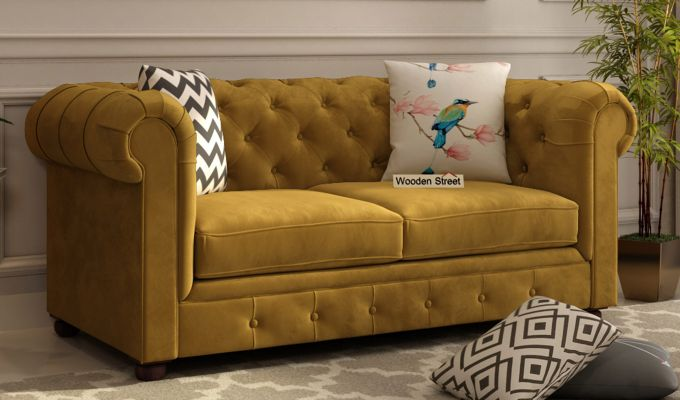 Henry 2 Seater Sofa (Velvet, Chestnut Brown)-1