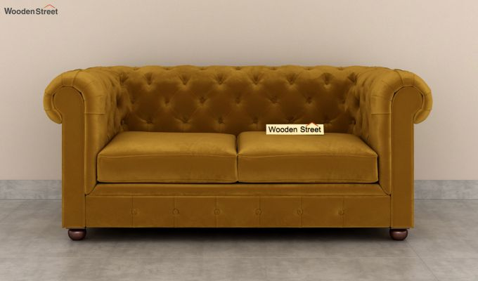 Henry 2 Seater Sofa (Velvet, Chestnut Brown)-3