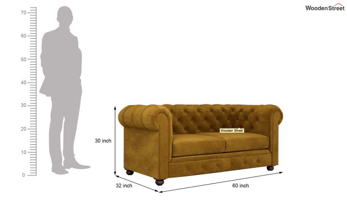 Henry 2 Seater Sofa (Velvet, Chestnut Brown)-10