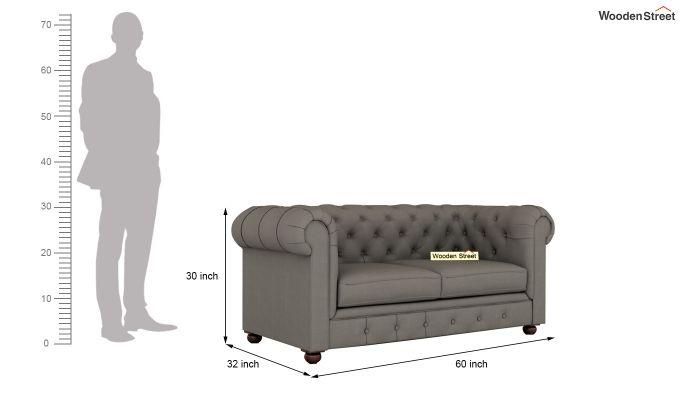 Henry 2 Seater Sofa (Fabric, Warm Grey)-10