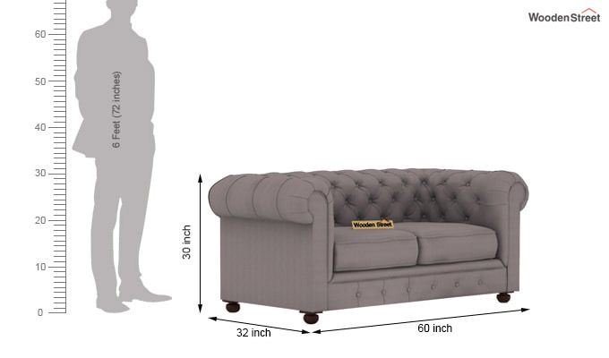 Henry 2 Seater Sofa (Fabric, Warm Grey)-3
