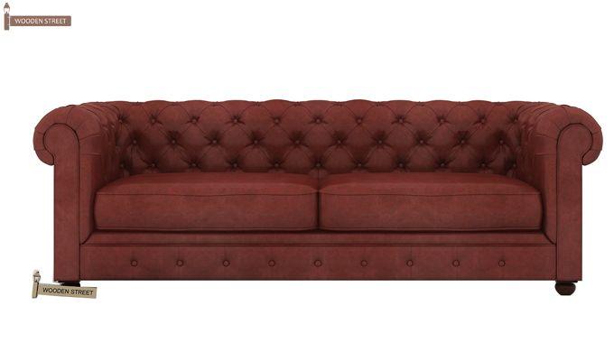 Henry 3 Seater Sofa (Leatherette, Burnt Umber)-2