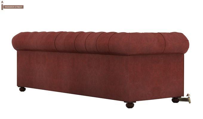 Henry 3 Seater Sofa (Leatherette, Burnt Umber)-4