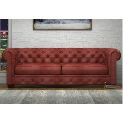 Henry 3 Seater Sofa (Leatherette, Burnt Umber)
