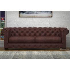 Henry 3 Seater Sofa (Leatherette, Dark Chocolate)