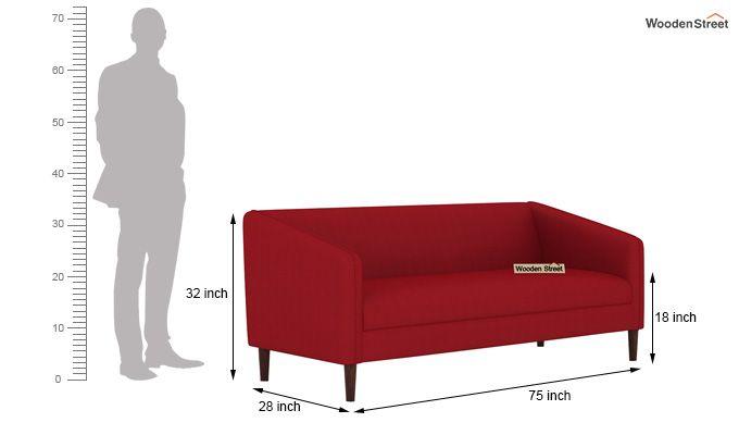 Letcher 3 Seater Sofa (Fabric, Dusky Rose)-4
