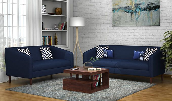Letcher 3+2 Fabric Sofa Set  (Indigo Ink)-1