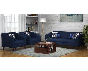 Letcher 3+1+1 Fabric Sofa Set  (Indigo Ink)