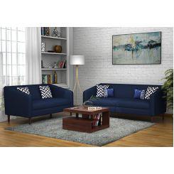 Letcher 3+2 Fabric Sofa Set  (Indigo Ink)