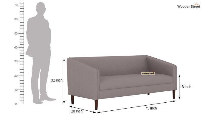 Letcher 3 Seater Sofa (Fabric, Warm Grey)-4