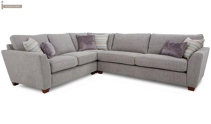 Lucian L Shape Fabric Sofa (Ivory)-2
