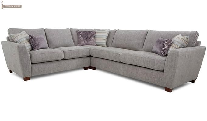 Lucian L Shape Fabric Sofa (Ivory)-3