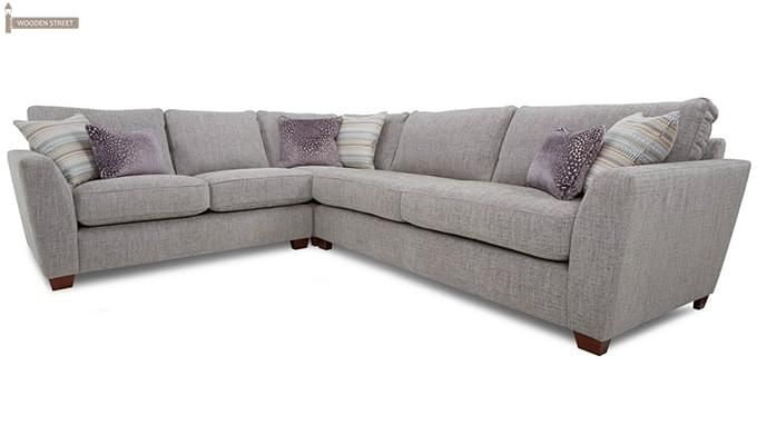 Lucian L Shape Fabric Sofa (Ivory)-4