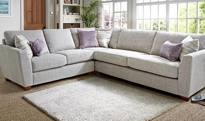 Lucian L Shape Fabric Sofa (Ivory)-1
