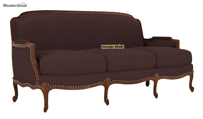 Margret 3 Seater Sofa (Fabric, Classic Brown)-1